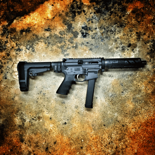 AMERICAN RESISTANCE BREAKDOWN PISTOL WITH SB TACTICAL SBA3 PISTOL STABILIZING BRACE AND ALG ACT TRIGGER.