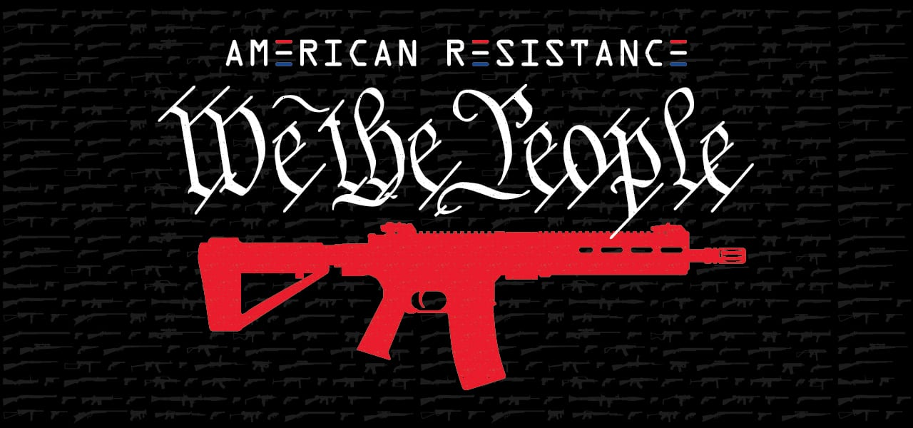 AMERICAN RESISTANCE LOGO AND CROSS RIFLES